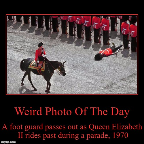 Dehydration Maybe? | Weird Photo Of The Day | A foot guard passes out as Queen Elizabeth II rides past during a parade, 1970 | image tagged in funny,demotivationals,weird,photo of the day,the queen elizabeth ii,foot guard | made w/ Imgflip demotivational maker