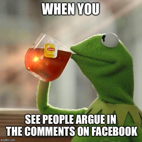 But Thats None Of My Business Meme | WHEN YOU SEE PEOPLE ARGUE IN THE COMMENTS ON FACEBOOK | image tagged in memes,but thats none of my business,kermit the frog | made w/ Imgflip meme maker