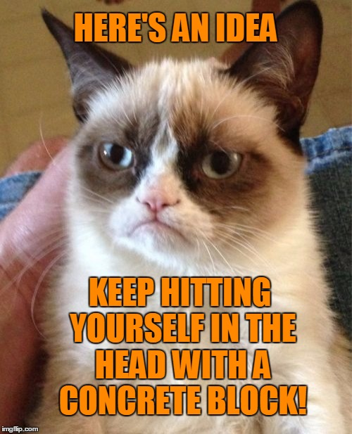 Grumpy Cat Meme | HERE'S AN IDEA KEEP HITTING YOURSELF IN THE HEAD WITH A CONCRETE BLOCK! | image tagged in memes,grumpy cat | made w/ Imgflip meme maker