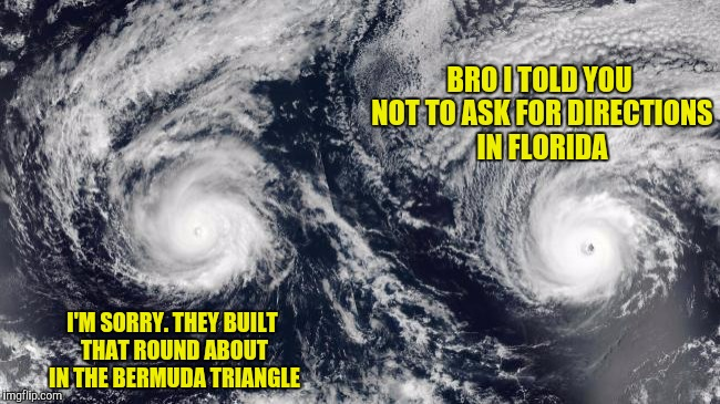 BRO I TOLD YOU NOT TO ASK FOR DIRECTIONS IN FLORIDA I'M SORRY. THEY BUILT THAT ROUND ABOUT IN THE BERMUDA TRIANGLE | made w/ Imgflip meme maker