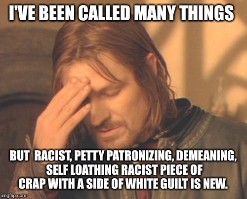 Come on, let's respect each other. We don't have to agree, feel free to state your mind, but leave the name calling at the door. | I'VE BEEN CALLED MANY THINGS BUT  RACIST, PETTY PATRONIZING, DEMEANING, SELF LOATHING RACIST PIECE OF CRAP WITH A SIDE OF WHITE GUILT IS NEW | image tagged in memes,frustrated boromir | made w/ Imgflip meme maker