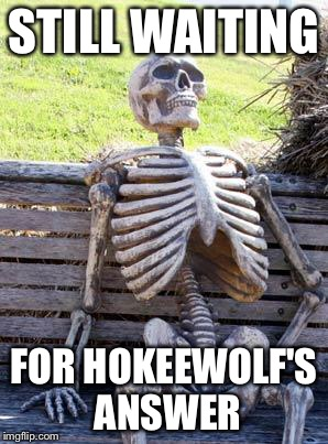 Waiting Skeleton Meme | STILL WAITING FOR HOKEEWOLF'S ANSWER | image tagged in memes,waiting skeleton | made w/ Imgflip meme maker