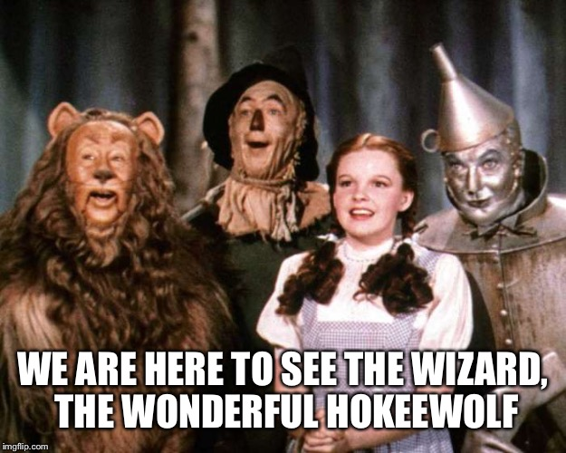 WE ARE HERE TO SEE THE WIZARD, THE WONDERFUL HOKEEWOLF | made w/ Imgflip meme maker