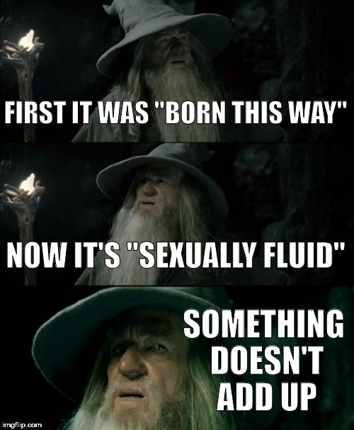 "Confused Gandalf | FIRST IT WAS ""BORN THIS WAY"" NOW IT'S ""SEXUALLY FLUID"" SOMETHING DOESN'T ADD UP 