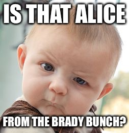 Skeptical Baby Meme | IS THAT ALICE FROM THE BRADY BUNCH? | image tagged in memes,skeptical baby | made w/ Imgflip meme maker