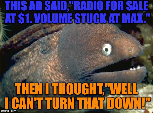 "Bad Joke Eel Meme | THIS AD SAID,""RADIO FOR SALE AT $1. VOLUME STUCK AT MAX."" THEN I THOUGHT,""WELL I CAN'T TURN THAT DOWN!"" 