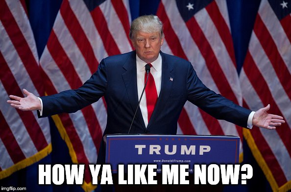 Donald Trump | HOW YA LIKE ME NOW? | image tagged in donald trump | made w/ Imgflip meme maker