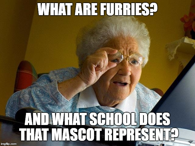 Grandma Finds The Internet Meme | WHAT ARE FURRIES? AND WHAT SCHOOL DOES THAT MASCOT REPRESENT? | image tagged in memes,grandma finds the internet | made w/ Imgflip meme maker
