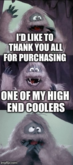 Bumble cooler | I'D LIKE TO THANK YOU ALL FOR PURCHASING ONE OF MY HIGH END COOLERS | image tagged in bumble's joke,bad pun,funny memes,yeti | made w/ Imgflip meme maker