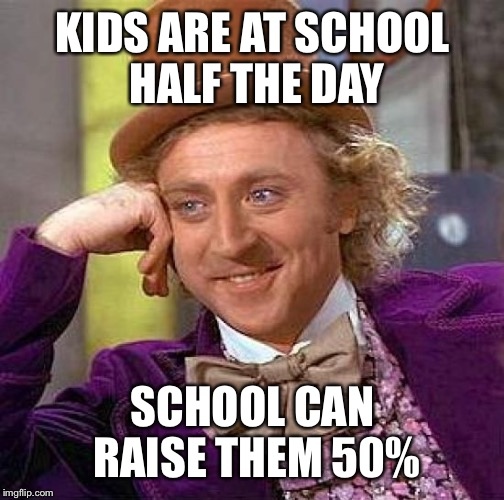 Creepy Condescending Wonka Meme | KIDS ARE AT SCHOOL HALF THE DAY SCHOOL CAN RAISE THEM 50% | image tagged in memes,creepy condescending wonka | made w/ Imgflip meme maker