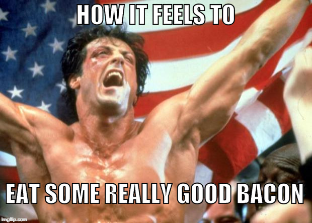 Bacon Victory | HOW IT FEELS TO EAT SOME REALLY GOOD BACON | image tagged in rocky victory,iwanttobebacon,rocky,america | made w/ Imgflip meme maker