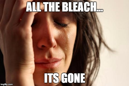 First World Problems |  ALL THE BLEACH... ITS GONE | image tagged in memes,first world problems | made w/ Imgflip meme maker