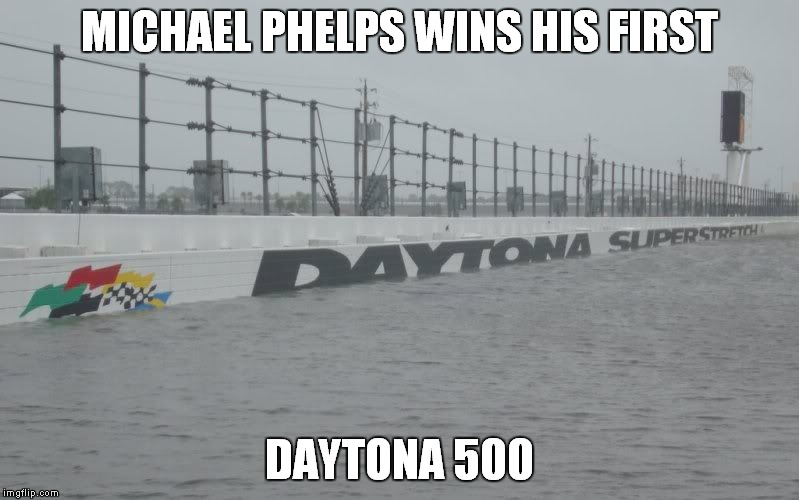 MICHAEL PHELPS WINS HIS FIRST; DAYTONA 500 | image tagged in hurricane,michael phelps | made w/ Imgflip meme maker