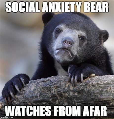*siiigh* |  SOCIAL ANXIETY BEAR; WATCHES FROM AFAR | image tagged in meme,anxiety,no fun,mopey bear | made w/ Imgflip meme maker