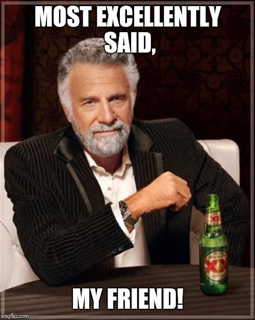 The Most Interesting Man In The World Meme | MOST EXCELLENTLY SAID, MY FRIEND! | image tagged in memes,the most interesting man in the world | made w/ Imgflip meme maker