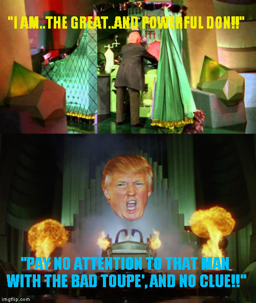"""I AM..THE GREAT..AND POWERFUL DON!!"" ""PAY NO ATTENTION TO THAT MAN WITH THE BAD TOUPE', AND NO CLUE!!"" 