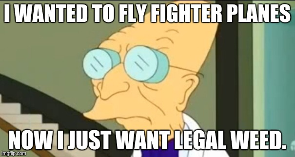I WANTED TO FLY FIGHTER PLANES NOW I JUST WANT LEGAL WEED. | made w/ Imgflip meme maker