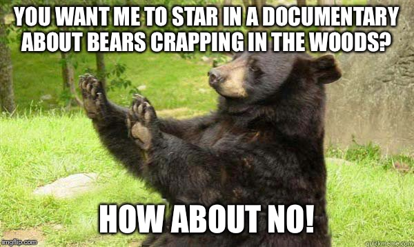 Up Next On Animal Planet | YOU WANT ME TO STAR IN A DOCUMENTARY ABOUT BEARS CRAPPING IN THE WOODS? HOW ABOUT NO! | image tagged in no bear blank,animal planet,do bears crap in the woods,memes,a mythical tag,documentary | made w/ Imgflip meme maker