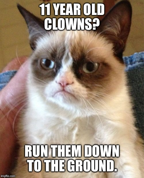 Grumpy Cat Meme | 11 YEAR OLD CLOWNS? RUN THEM DOWN TO THE GROUND. | image tagged in memes,grumpy cat | made w/ Imgflip meme maker