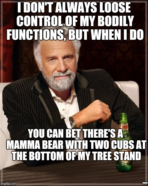 The Most Interesting Man In The World Meme | I DON'T ALWAYS LOOSE CONTROL OF MY BODILY FUNCTIONS, BUT WHEN I DO YOU CAN BET THERE'S A MAMMA BEAR WITH TWO CUBS AT THE BOTTOM OF MY TREE S | image tagged in memes,the most interesting man in the world | made w/ Imgflip meme maker