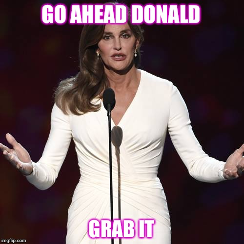 Had to pass this one along! | GO AHEAD DONALD GRAB IT | image tagged in brucaitlyn jenner,memes,funny,trump | made w/ Imgflip meme maker