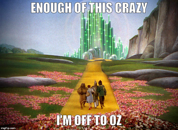 Stop the Insanity | ENOUGH OF THIS CRAZY I'M OFF TO OZ | image tagged in yellow brick road,oz,crazy,dorothy | made w/ Imgflip meme maker