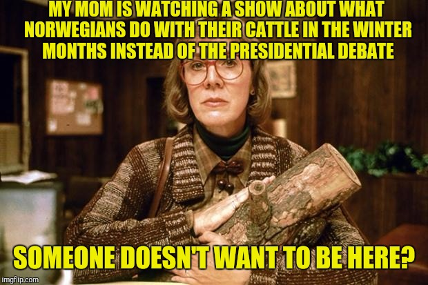 If she buys Norwegian Rosetta Stone it's official. | MY MOM IS WATCHING A SHOW ABOUT WHAT NORWEGIANS DO WITH THEIR CATTLE IN THE WINTER MONTHS INSTEAD OF THE PRESIDENTIAL DEBATE SOMEONE DOESN'T | image tagged in log lady,memes,presidential debate | made w/ Imgflip meme maker