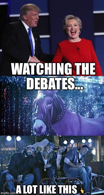Watching the debates / donkey show | WATCHING THE DEBATES... A LOT LIKE THIS  | image tagged in donald trump,trump 2016,trump,donald trump approves,trumppence2016,nevertrump | made w/ Imgflip meme maker