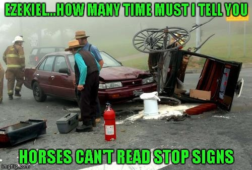 I see firemen and a fire extinguisher...did the horses catch on fire?!? | EZEKIEL...HOW MANY TIME MUST I TELL YOU HORSES CAN'T READ STOP SIGNS | image tagged in amish car accident,memes,funny,amish,car accident | made w/ Imgflip meme maker