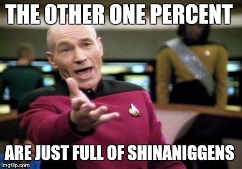 Picard Wtf Meme | THE 0THER ONE PERCENT ARE JUST FULL OF SHINANIGGENS | image tagged in memes,picard wtf | made w/ Imgflip meme maker