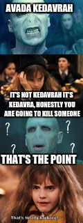 AVADA KEDAVRAH; IT'S NOT KEDAVRAH IT'S KEDAVRA, HONESTLY YOU ARE GOING TO KILL SOMEONE; THAT'S THE POINT | image tagged in hollywood | made w/ Imgflip meme maker