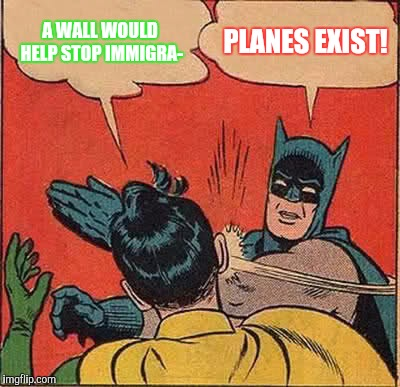 PLANES CAN FLY OVER WALLS. |  A WALL WOULD HELP STOP IMMIGRA-; PLANES EXIST! | image tagged in memes,batman slapping robin,border | made w/ Imgflip meme maker