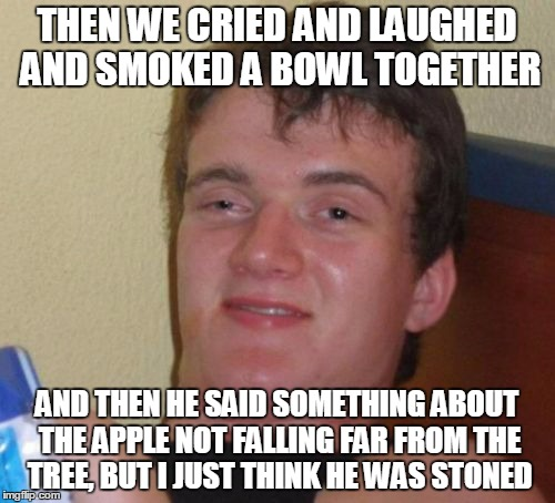 10 Guy Meme | THEN WE CRIED AND LAUGHED AND SMOKED A BOWL TOGETHER AND THEN HE SAID SOMETHING ABOUT THE APPLE NOT FALLING FAR FROM THE TREE, BUT I JUST TH | image tagged in memes,10 guy | made w/ Imgflip meme maker