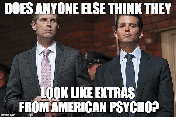 Trump Sons |  DOES ANYONE ELSE THINK THEY; LOOK LIKE EXTRAS FROM AMERICAN PSYCHO? | image tagged in donald trump | made w/ Imgflip meme maker
