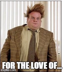 Chris Farley Hair | FOR THE LOVE OF... | image tagged in chris farley hair | made w/ Imgflip meme maker