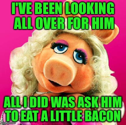 I'VE BEEN LOOKING ALL OVER FOR HIM ALL I DID WAS ASK HIM TO EAT A LITTLE BACON | made w/ Imgflip meme maker