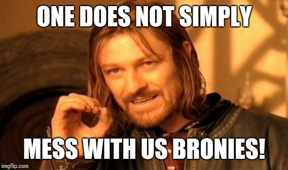 One Does Not Simply Meme | ONE DOES NOT SIMPLY MESS WITH US BRONIES! | image tagged in memes,one does not simply | made w/ Imgflip meme maker