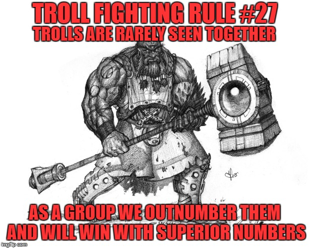 Troll Fighting Rule #27 |  TROLL FIGHTING RULE #27; TROLLS ARE RARELY SEEN TOGETHER; AS A GROUP WE OUTNUMBER THEM AND WILL WIN WITH SUPERIOR NUMBERS | image tagged in troll smasher | made w/ Imgflip meme maker