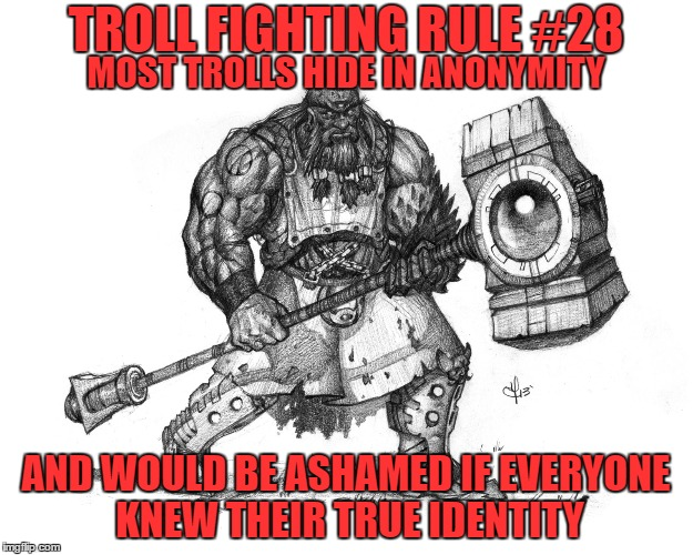 Troll Fighting Rule #28 |  TROLL FIGHTING RULE #28; MOST TROLLS HIDE IN ANONYMITY; AND WOULD BE ASHAMED IF EVERYONE KNEW THEIR TRUE IDENTITY | image tagged in troll smasher | made w/ Imgflip meme maker