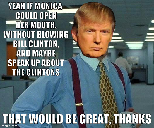 That Would Be Great Meme | YEAH IF MONICA COULD OPEN HER MOUTH, WITHOUT BLOWING BILL CLINTON, AND MAYBE SPEAK UP ABOUT THE CLINTONS THAT WOULD BE GREAT, THANKS | image tagged in memes,that would be great | made w/ Imgflip meme maker