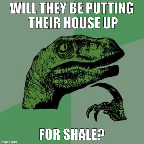 Philosoraptor Meme | WILL THEY BE PUTTING THEIR HOUSE UP FOR SHALE? | image tagged in memes,philosoraptor | made w/ Imgflip meme maker