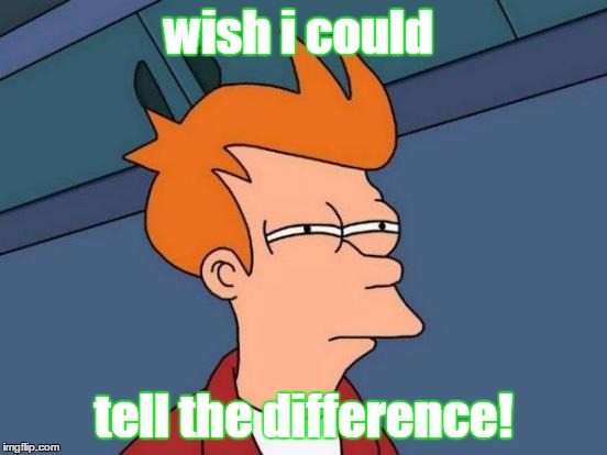 Futurama Fry Meme | wish i could tell the difference! | image tagged in memes,futurama fry | made w/ Imgflip meme maker
