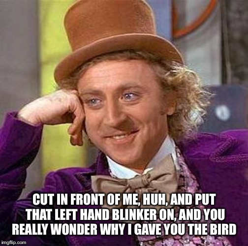 Creepy Condescending Wonka Meme | CUT IN FRONT OF ME, HUH, AND PUT THAT LEFT HAND BLINKER ON, AND YOU REALLY WONDER WHY I GAVE YOU THE BIRD | image tagged in memes,creepy condescending wonka | made w/ Imgflip meme maker