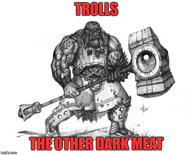 Trolls | TROLLS THE OTHER DARK MEAT | image tagged in troll smasher | made w/ Imgflip meme maker