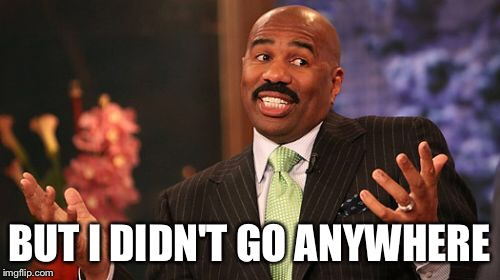 Steve Harvey Meme | BUT I DIDN'T GO ANYWHERE | image tagged in memes,steve harvey | made w/ Imgflip meme maker