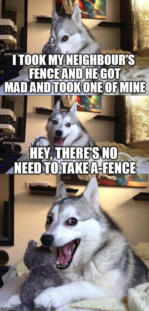 no a-fence if you're american and you say neighbors | I TOOK MY NEIGHBOUR'S FENCE AND HE GOT MAD AND TOOK ONE OF MINE HEY, THERE'S NO NEED TO TAKE A-FENCE | image tagged in memes,bad pun dog,fence | made w/ Imgflip meme maker
