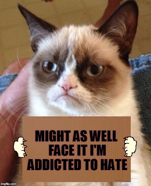 One Track Mind | MIGHT AS WELL FACE IT I'M ADDICTED TO HATE | image tagged in grumpy cat cardboard sign,memes,grumpy cat,musically malicious grumpy cat,robert palmer,hated it | made w/ Imgflip meme maker