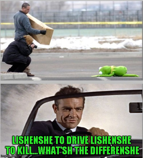 Looks like Connery has done it again. | LISHENSHE TO DRIVE LISHENSHE TO KILL...WHAT'SH THE DIFFERENSHE | image tagged in kermit vs sean,memes,kermit vs connery,funny,muppets | made w/ Imgflip meme maker