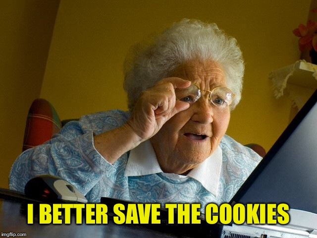 Grandma Finds The Internet Meme | I BETTER SAVE THE COOKIES | image tagged in memes,grandma finds the internet | made w/ Imgflip meme maker