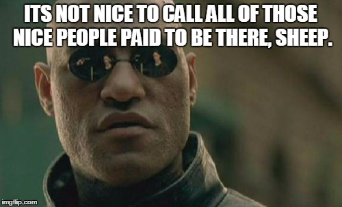 Matrix Morpheus Meme | ITS NOT NICE TO CALL ALL OF THOSE NICE PEOPLE PAID TO BE THERE, SHEEP. | image tagged in memes,matrix morpheus | made w/ Imgflip meme maker